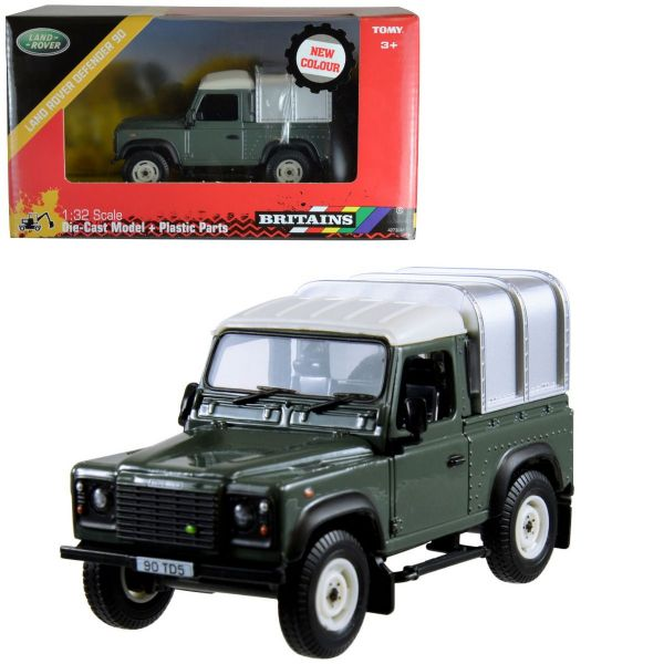 Tomy Britains Green Land Rover Defender 90 4 x 4 Toy Farm Vehicle With Canopy